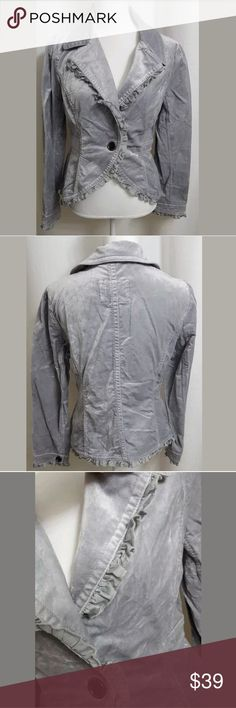 """WHBM Gray 1 Button Ruffles Velvet Blazer Jacket sz This is a WHBM Gray 1 Button Ruffles Velvet Blazer Jacket sz 8. There are no stains, snags, or holes.   Measurements: (When laid flat)  Armpit to armpit: 18"""" Around chest: 36"""" Top of shoulder to bottom: 21""""  Product material:  72% Cotton  26% Rayon 2% Spandex  Inventory #: White House Black Market Jackets & Coats Blazers"""