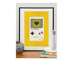 RESTYLE DESIGN PRINTS & CO: Affiche Love to play, Jaune et blanc - A3