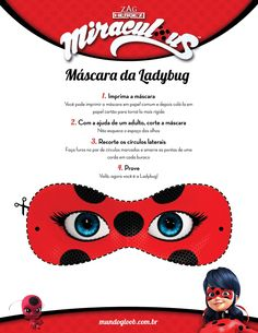These Free Printable Activity Sheets for Ladybug & Cat Noir: Spots On! include fun mask printables featuring the show's two main characters. Ladybug Crafts, Ladybug Party, Diy For Kids, Crafts For Kids, Ladybug And Cat Noir, Class Decoration, Activity Sheets, Mascaras, Children