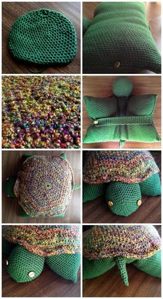 Crocheted turtle pillow pet.  I love it!!! Gonna have to figure out how to make this !