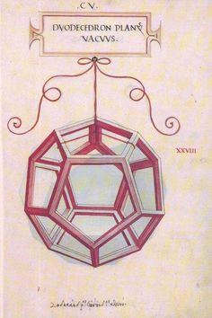 Dodecahedron: Leonardo da Vinci's dodecahedron drawing in Pacioli's book 'The Divine Proportione'