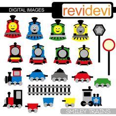 Thomas the train-inspired digital clipart, $4 via Etsy