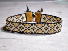 Bohemian Style Bracelet, Brown Diamond Bead Loom Bracelet, Bracelet Loom, Adjustable Bracelet, by BeadWorkBySmileyKit on Etsy https://www.etsy.com/listing/216330138/bohemian-style-bracelet-brown-diamond