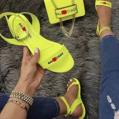Mensootd is filled with the season's hottest trends, available in all sizes. You can buy the trendy fashion shoes, clothing and bags here. Enjoy your shopping journey now! Home Design, Balenciaga Sandals, Trendy Sandals, Women Sandals, Yellow Nikes, Nike Presto, Open Toe Flats, Louis Vuitton, Summer Flats