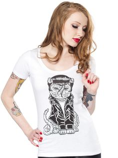 "Women's ""Rockakitty"" Tee by Sourpuss Clothing (White) #InkedShop #kitty #graphictee #clothing"