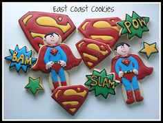 I like the cookies with the red outline and red/yellow flood icing. it would be easier than making black icing and it looks cuter. Superman Birthday Party, Superhero Party, Boy Birthday, Birthday Woman, Happy Birthday, Birthday Parties, Superman Cookies, Superhero Cookies, Birthday Cookies