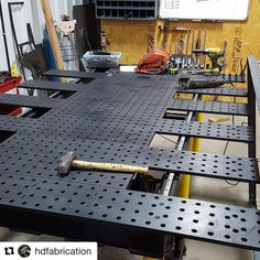 A perfect example from of how you can adapt your BuildPro Table to fit your project! Metal Working Tools, Metal Tools, Strong Hand Tools, Fixture Table, Welding Table, Gate Design, Garage Workshop, Metal Fabrication, Welding Projects
