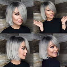 80 Bob Hairstyles To Give You All The Short Hair Inspiration - Hairstyles Trends Latest Short Hairstyles, Bob Hairstyles For Fine Hair, Cool Hairstyles, Hairstyle Ideas, Short Straight Hair, Short Hair Cuts, Short Hair Styles, Grey Hair Styles, Long White Hair