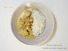 Dinde au lait de coco, mariné aux sauces satay et soja
