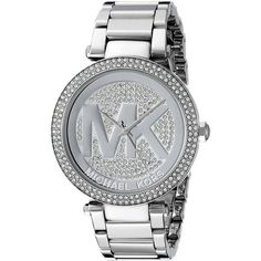 Michael Kors Women's Parker MK5925 Silver Stainless-Steel Quartz Watch... ($169) ❤ liked on Polyvore featuring jewelry, watches, silver, quartz jewelry, stainless steel jewellery, stainless steel watches, silver dial watches and silver watches