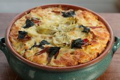 Savory Bread Pudding, Artichokes, Swiss Chard (Milk, Cheese, Butter) It's National Dairy Month!