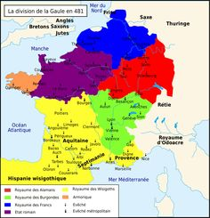 La Gaule à l'avènement de Clovis en 481.