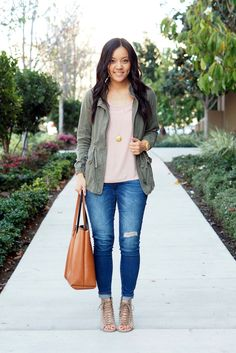 Strappy shoes and blush tops taupe shoes, blush shoes, olive green outfit, Utility Jacket Outfit, Green Jacket Outfit, Olive Green Outfit, Fresh Outfits, Spring Outfits, Casual Outfits, Cute Outfits, Work Outfits, Casual Wear