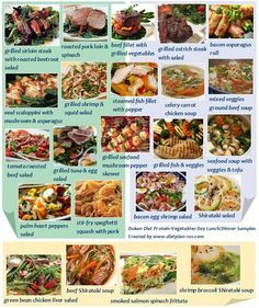 Dukan Diet Protein-Vegetables Day Lunch and Dinner Samples