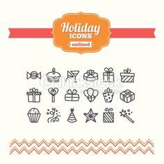 ベクトルアート : Set of hand drawn holiday icons