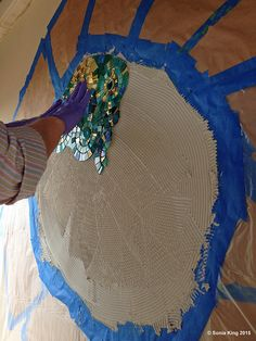 Installation of 'VisionShift' mosaic by Sonia King Mosaic Artist