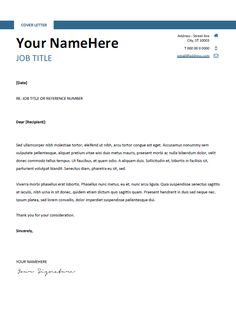 free clean and simple cover letter template for word docx blue - Resume Cover Letter Template Microsoft Word