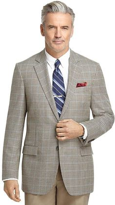 Fitzgerald Fit Tan Check with Blue Windowpane Sport Coat