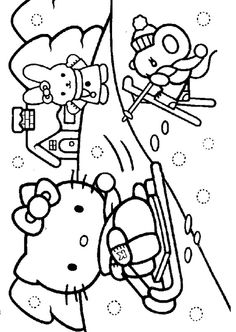 Hello Kitty Winter Coloring Page