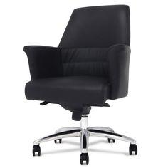 Geffen Genuine Leather Aluminum Base Low Back Executive Chair   Zuri Furniture