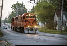 South Shore Freight power is heading west from Michigan City shops toward mills a little before sunrise.