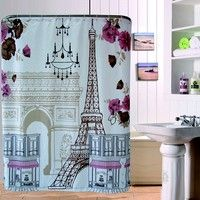 Paris Eiffel Tower Triumphal Arch Shower Curtain Paris Vintage Bathroom Shower Curtains Plyester Fabric Waterproof Mildew Proof Shower Curtain with 12 Hooks