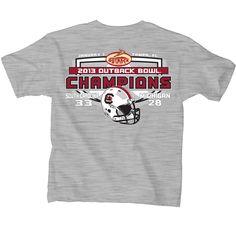 61cd45671e8 South Carolina Gamecocks 2013 Outback Bowl Champions Gray Youth T-Shirt