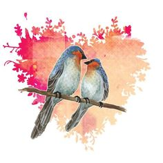 Lovebirds Art Illustration Print Bird Art Romantic door TinyBeeArt