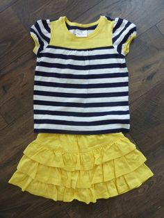 b0b240b14c7 HANNA ANDERSSON GIRLS SIZE 110 (5) YELLOW RUFFLED LAYER SKORT AND TOP  SET~NWOT  HannaAndersson  DressyEverydayHoliday