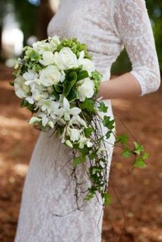 Stunning trail bouquet with splashes of green