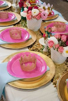 Pretty place settings at a pink and gold pony birthday party! See more party ideas at CatchMyParty.com!