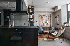 Cuisine avec îlot dans appartement de deux-pièces de 46m2 - PLANETE DECO a homes world Home Goods, Decor Ideas, Inspired, Decoration, Modern, Table, Inspiration, Furniture, Home Decor