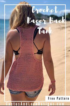 Crochet Summer Tops, Crochet Halter Tops, Crochet Blouse, Free Crochet, Simple Crochet, Knit Crochet, Diy Crochet Tank Top, Crochet Sweaters, Crochet Clothes For Women