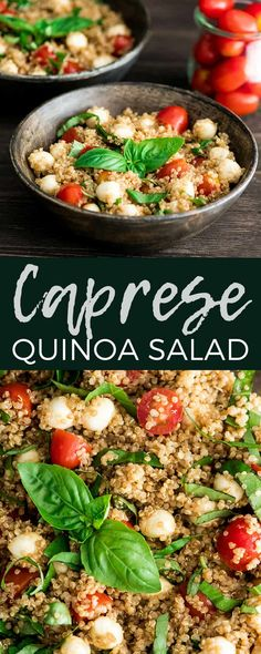 This Balsamic Caprese Quinoa Salad Recipe is the perfect summer side dish! Loaded with fresh tomatoes basil and mozzarella cheese it's a healthy light easy and refreshing meal that everyone will love! It's gluten-free and only takes 20 minutes to prepare! Clean Eating Recipes, Easy Healthy Recipes, Vegetarian Recipes, Healthy Eating, Cooking Recipes, Slow Cooking, Kitchen Recipes, Free Recipes, Cooking Tips
