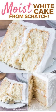 This super moist white cake recipe from scratch is the best white cake I've ever. - This super moist white cake recipe from scratch is the best white cake I've ever had. Cake Recipes From Scratch, Easy Cake Recipes, Dessert Recipes, Easy White Cake Recipe, Best Ever White Cake Recipe, White Cake Recipes, Birthday Cake Cookies, Best Birthday Cake, Desserts