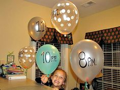 Sleepover Ideas - Balloons to announce next activity...