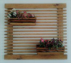 Kit grade de 89 x 80 cm, com 2 cachepots (37 x 14 x 10 cm), com verniz carvalho.
