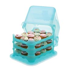 Cupcake Courier!! 3 trays, holds 36 cupcakes total - each cake sits in a cup holder, so no rolling, no sliding, and no squished frosting! I want this!!