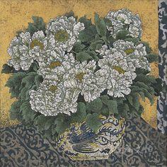 Li Xiaokang(李小康 Chinese, b.1955)凤穿牡丹   Lacquer painting  via