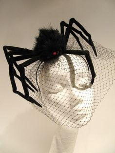 Spider Fascinator_ Halloween Headband- Spider Costume- Birdcage net -Black Fascinator_ Made in USA -halloween costume by doramarra on Etsy https://www.etsy.com/listing/204907191/spider-fascinator-halloween-headband