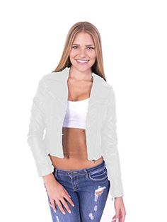 Women s Leather Biker Jacket with Zipper - Ivory - Clothing 857935291