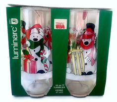 Vintage Snowman Drinking Glasses Set Four by EclecticVintager, $18.00
