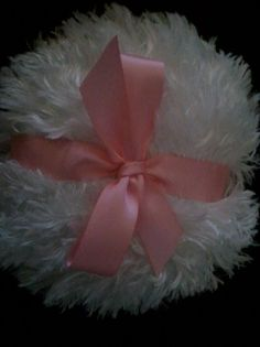 Shaggy Body powder puff, super soft, 4 inches with dark pink  ribbon and bow