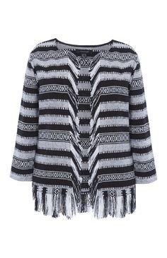 Black And Grey Woven Fringe Jacket