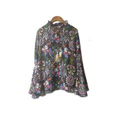 2016 Fashion Women Chiffon Ribbons Blouses Vintage Floral Printing Flare Sleeve Bohemian Tshirts Loose Casual Feminines Clothes
