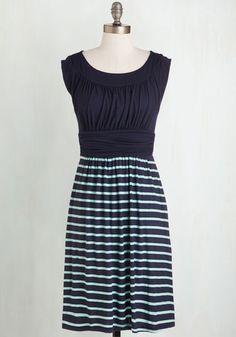 I Love Your Dress in Navy Stripes - Knit, Sundress, Blue, Green, Stripes, Print, Casual, A-line, Twofer, Sleeveless, Jersey, Good, Short, Summer