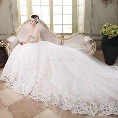 魅力的な恋人のアップリケは、チャペルの列車のウェディングドレススパンコール 10923244 - ウェディングドレス2014 - Dresswe.Com