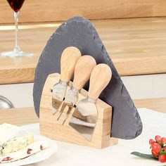 Alfresco Slate Cheese Board And Cheese Knives Gift Set from notonthehighstreet.com