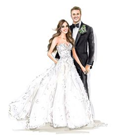 Wedding Illustration, Portrait Illustration, Wedding Attire, Wedding Dresses, Solid Background, Best Friend Wedding, Wedding Portraits, Newlyweds, Bridal Gowns
