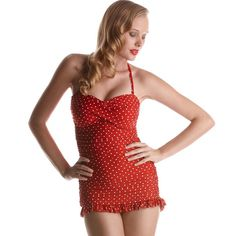 Jantzen Swimwear Vamp Bathing Suit | Red White Polka Dot $105